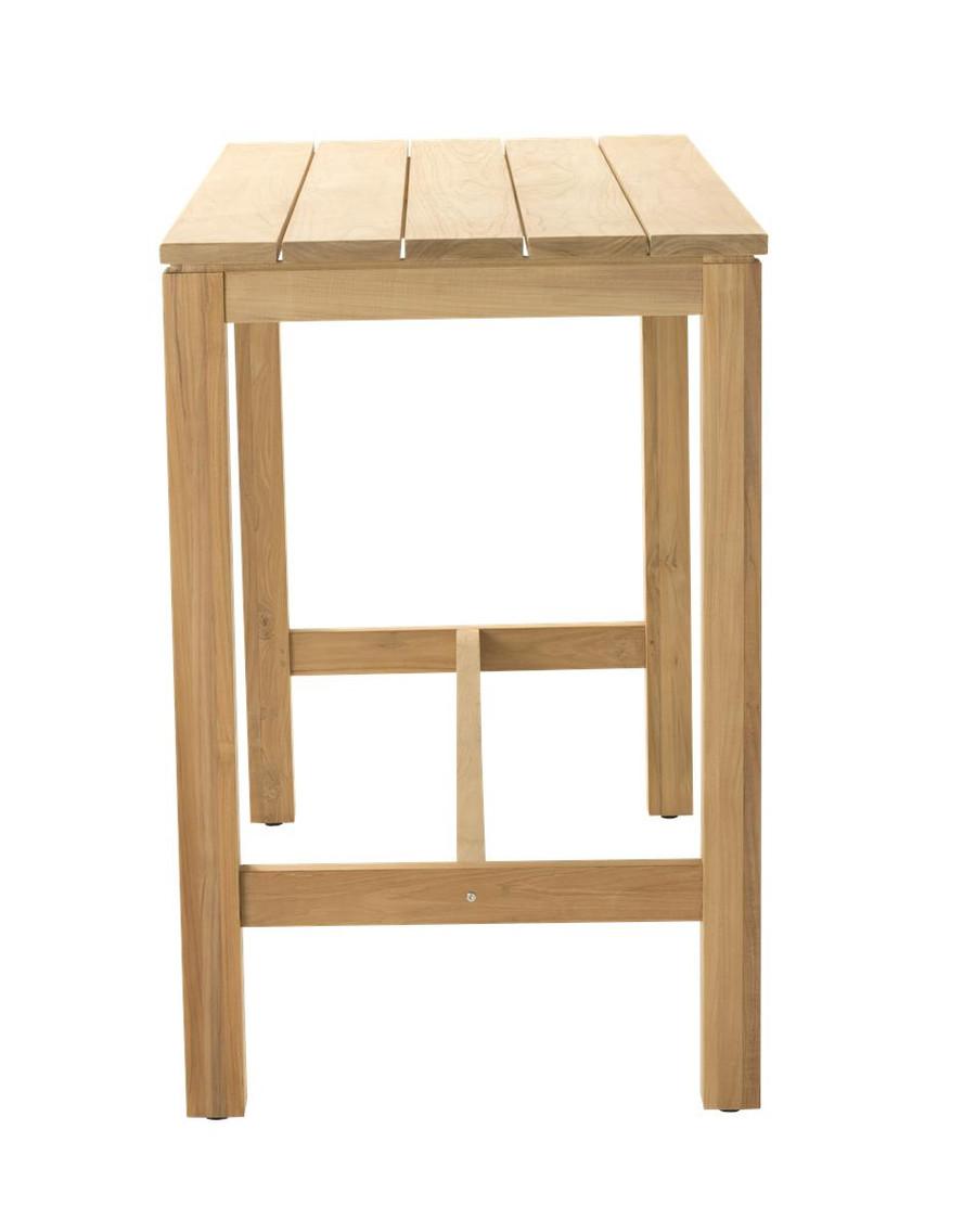 End view of Devon Haast rectangular teak bar table