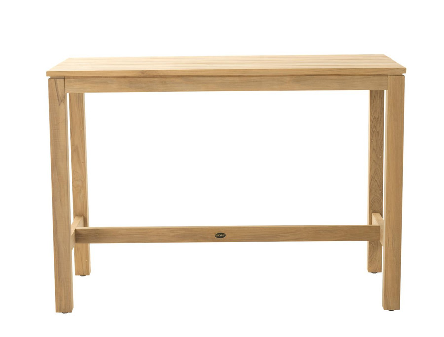 Front view of Haast rectangular teak bar table