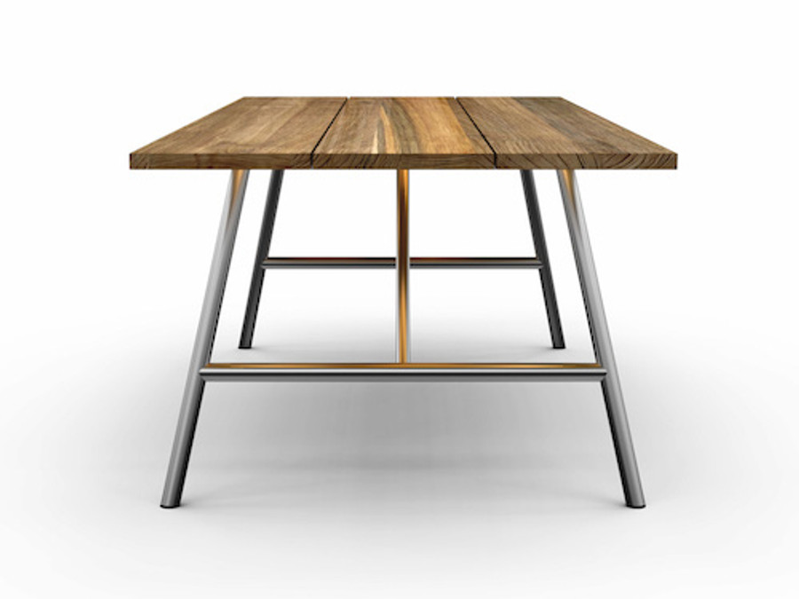 Avoy reclaimed teak and stainless steel outdoor table - 240x100 foldable
