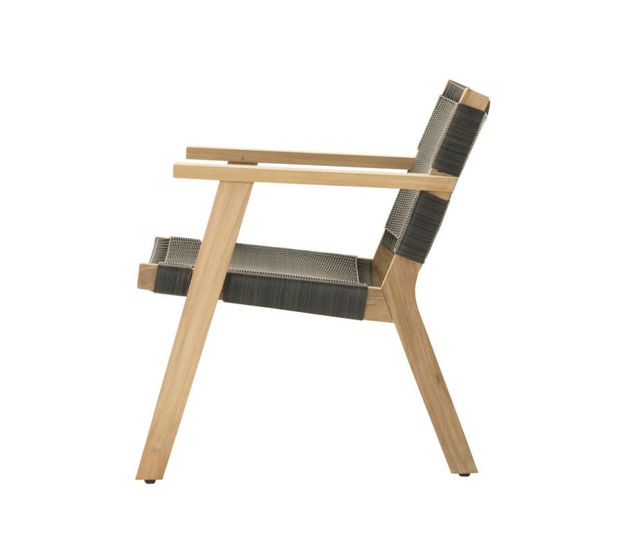 Side view of Devon Jackson outdoor easy chair in shadow grey wicker