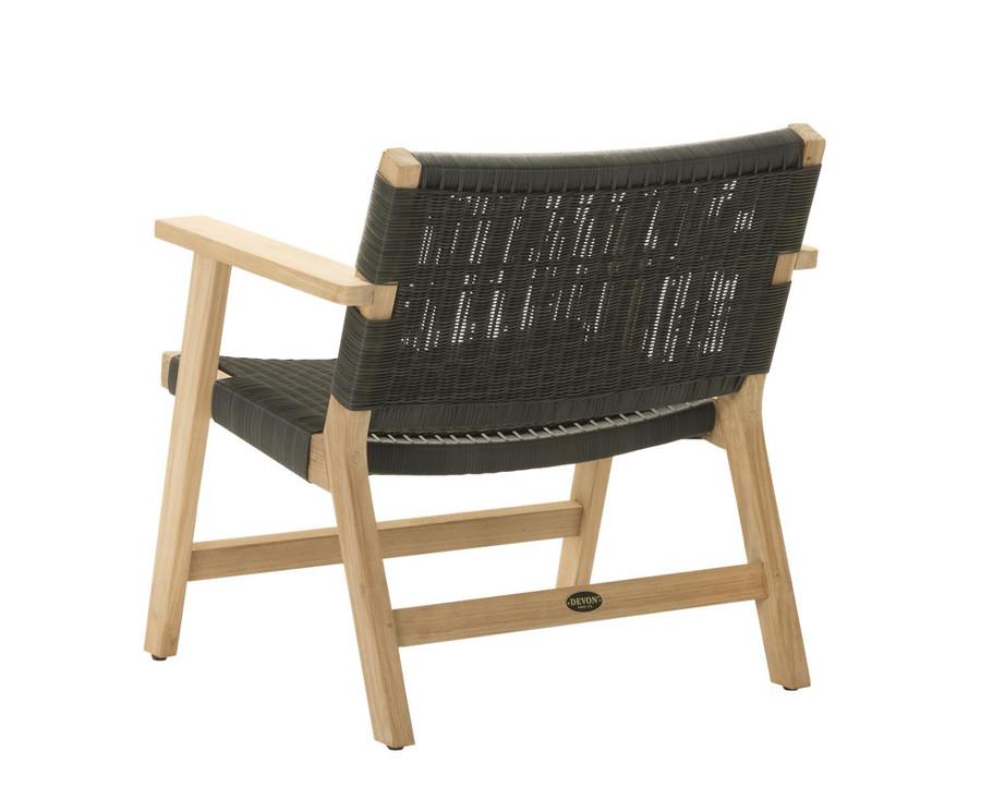 Rear view of Devon Jackson outdoor easy chair in shadow grey wicker
