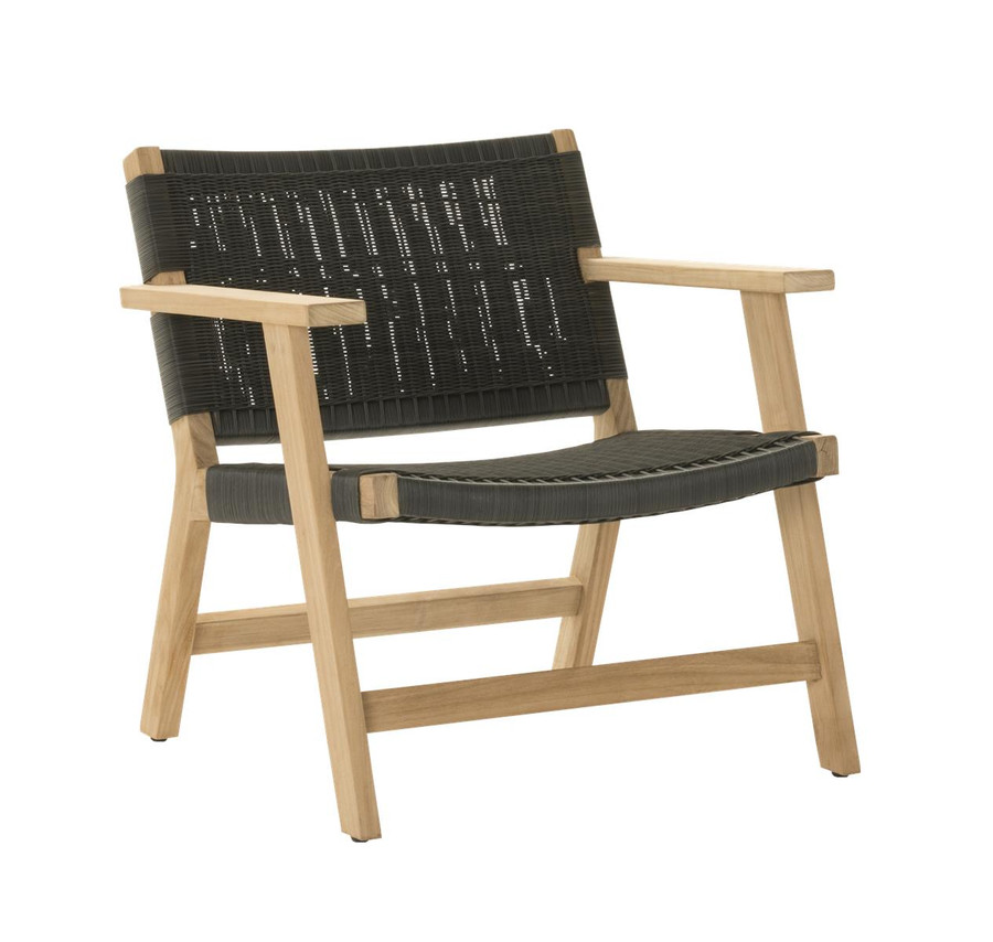 Angle view of Devon Jackson outdoor easy chair in shadow grey wicker