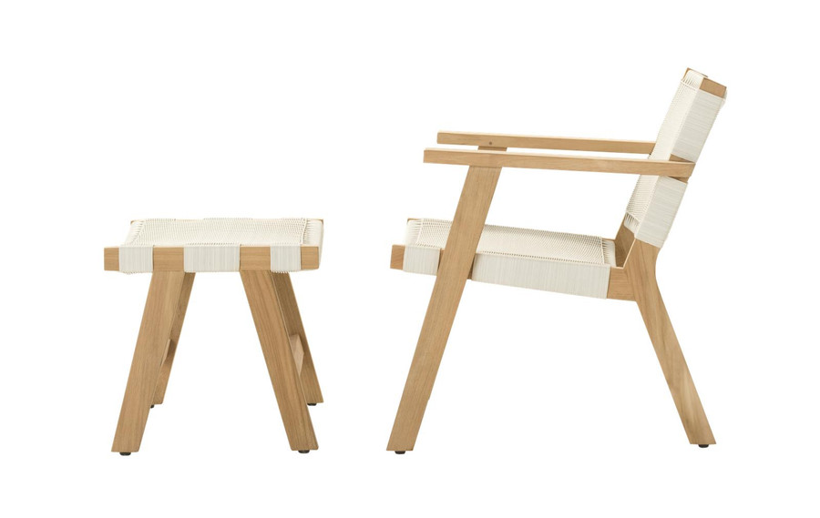 Side view of Devon Jackson outdoor easy chair in whitewash wicker with matching footstool