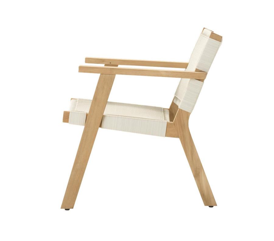 Side view of Devon Jackson outdoor easy chair in whitewash wicker