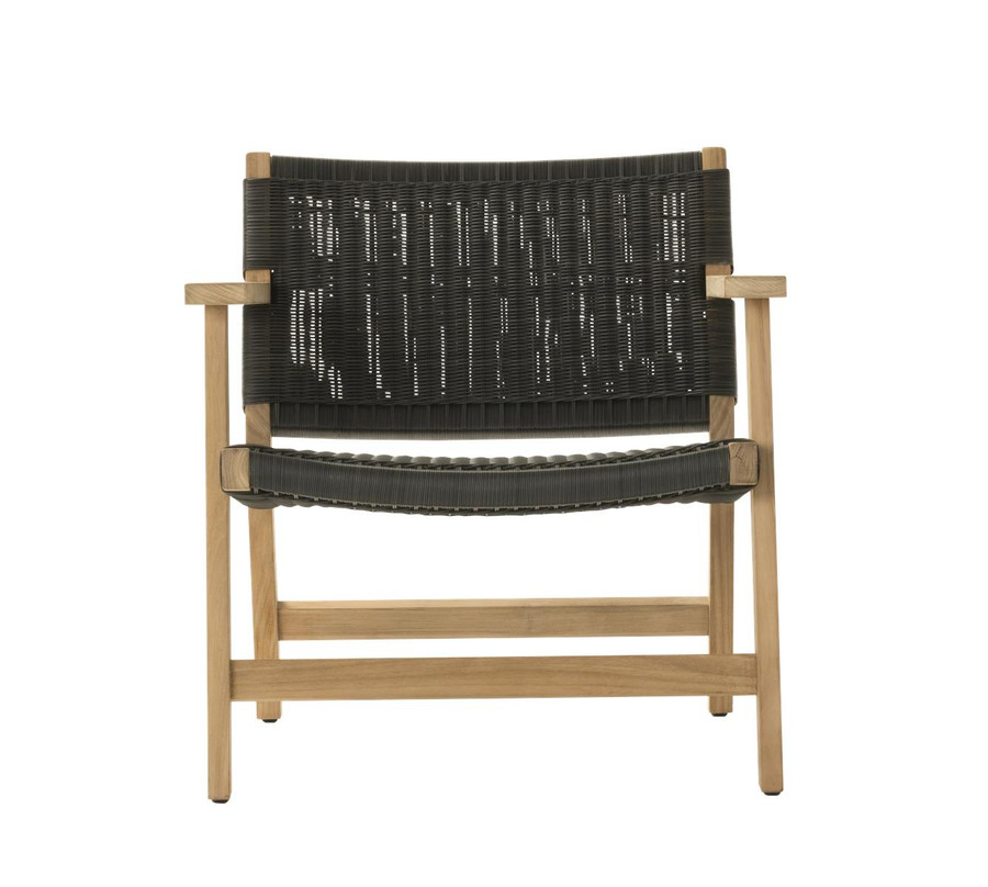 Front view of Devon Jackson outdoor easy chair in shadow grey wicker