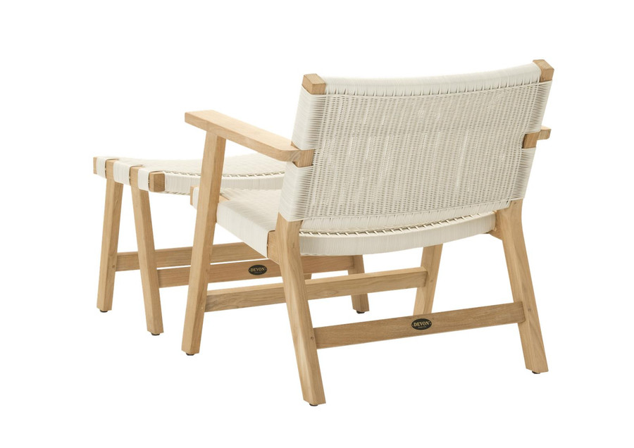 Rear view of Devon Jackson outdoor easy chair in whitewash wicker with matching footstool