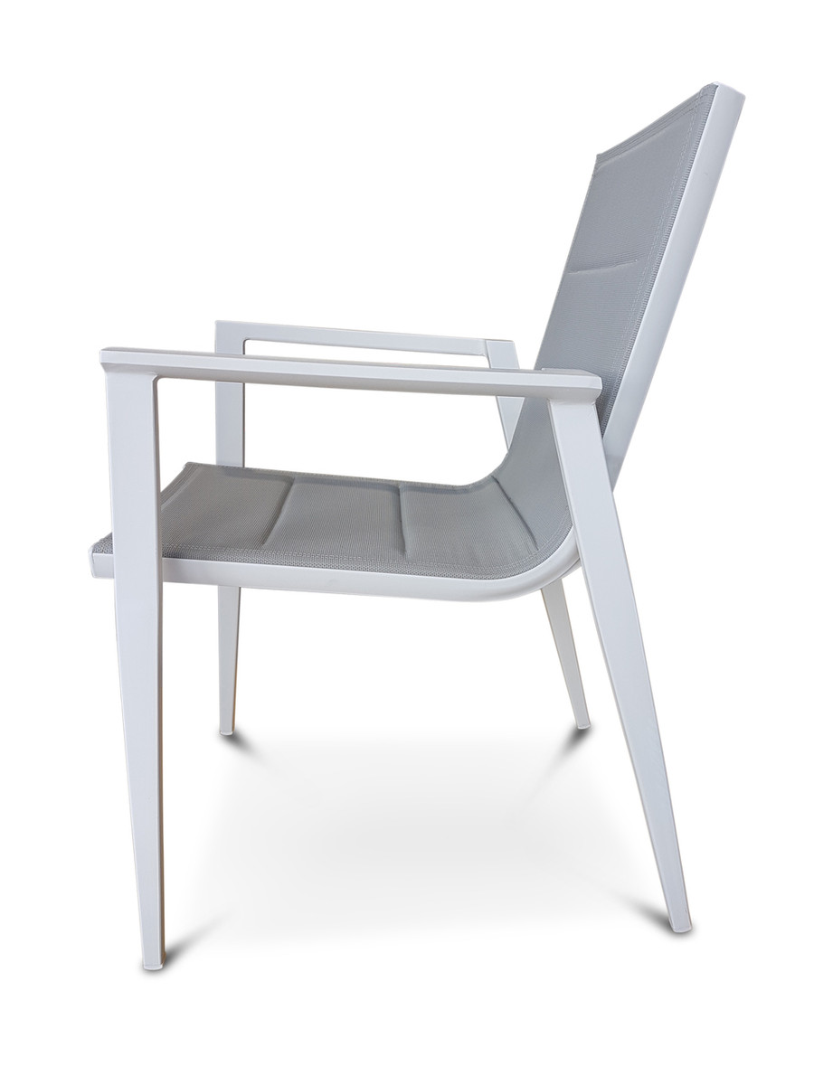 Ether stackable outdoor aluminium / sling dining chair