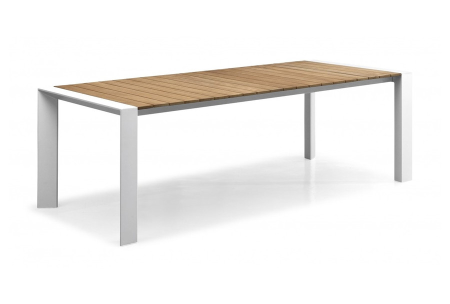 Orlando outdoor dining table with teak top, 220x100, white or charcoal