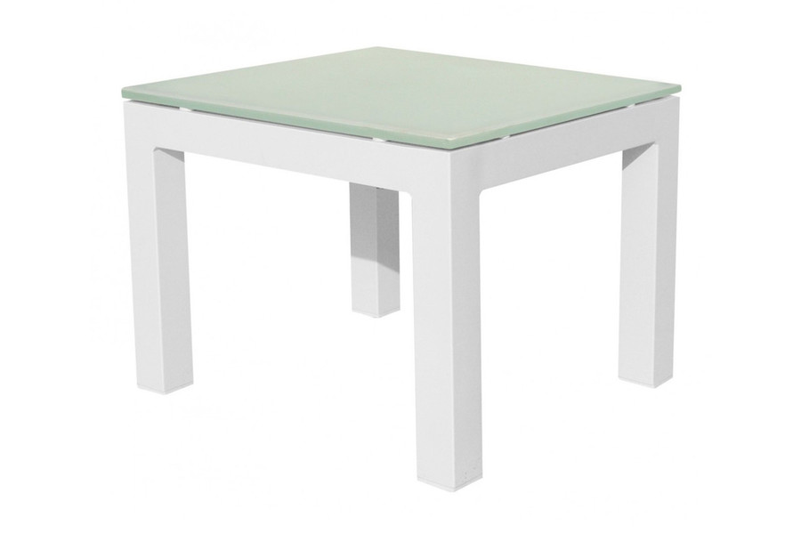 Lisbon outdoor side table 50x44 - frosted glass top
