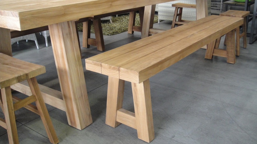 Block aged teak outdoor benches (3 sizes)