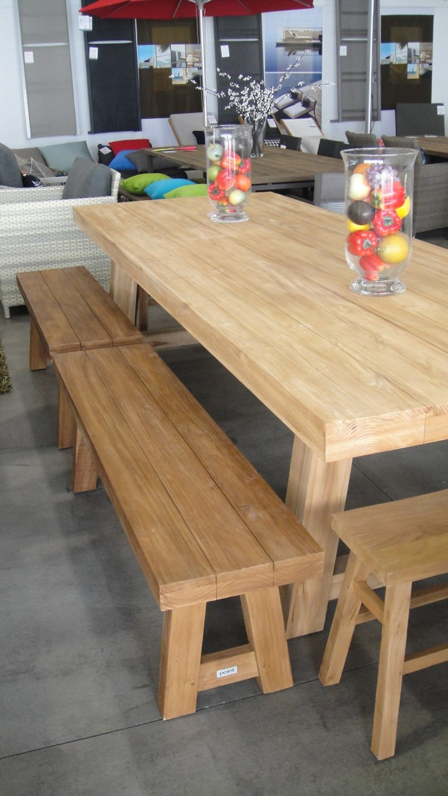 2 x 130cm block benches used on 3m block table
