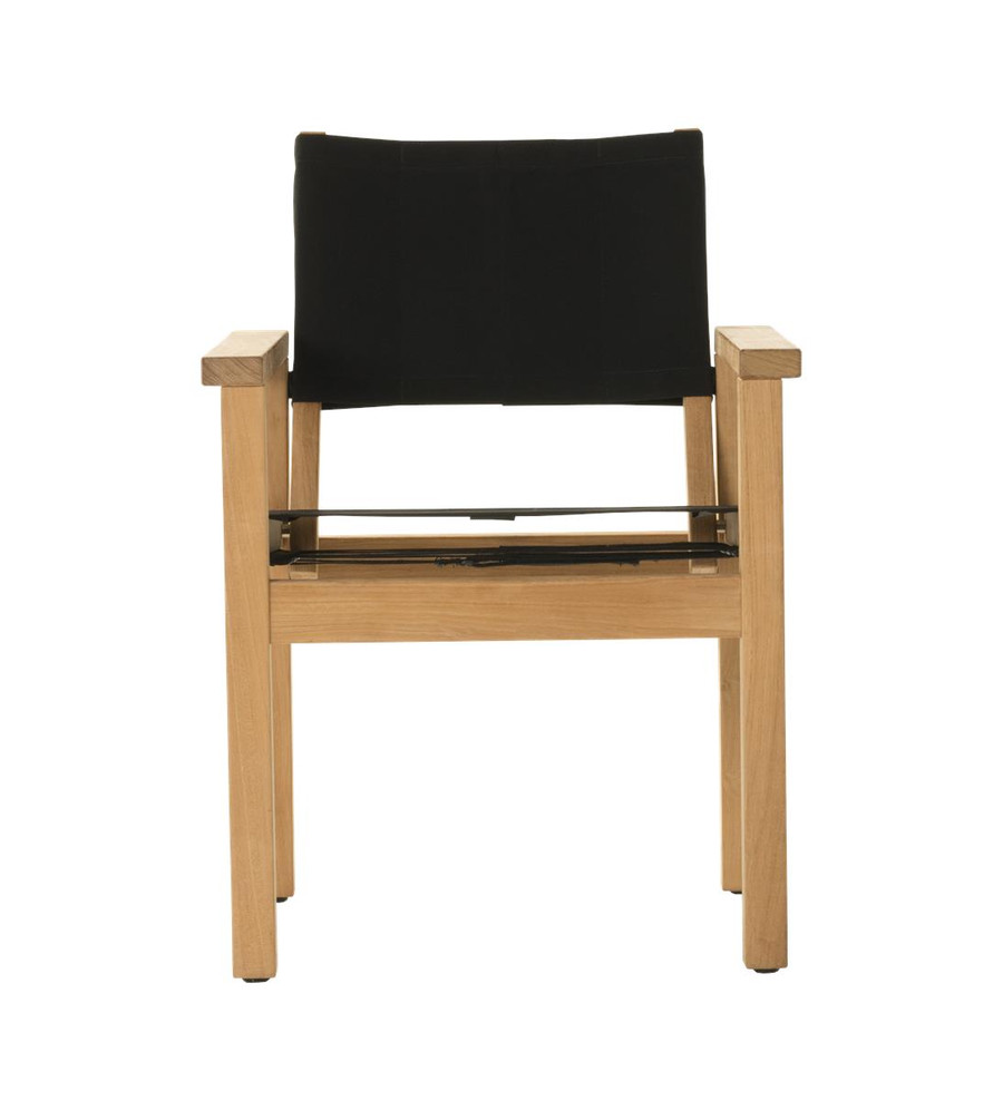 Front view of Devon Blake outdoor teak dining chair in black fabric