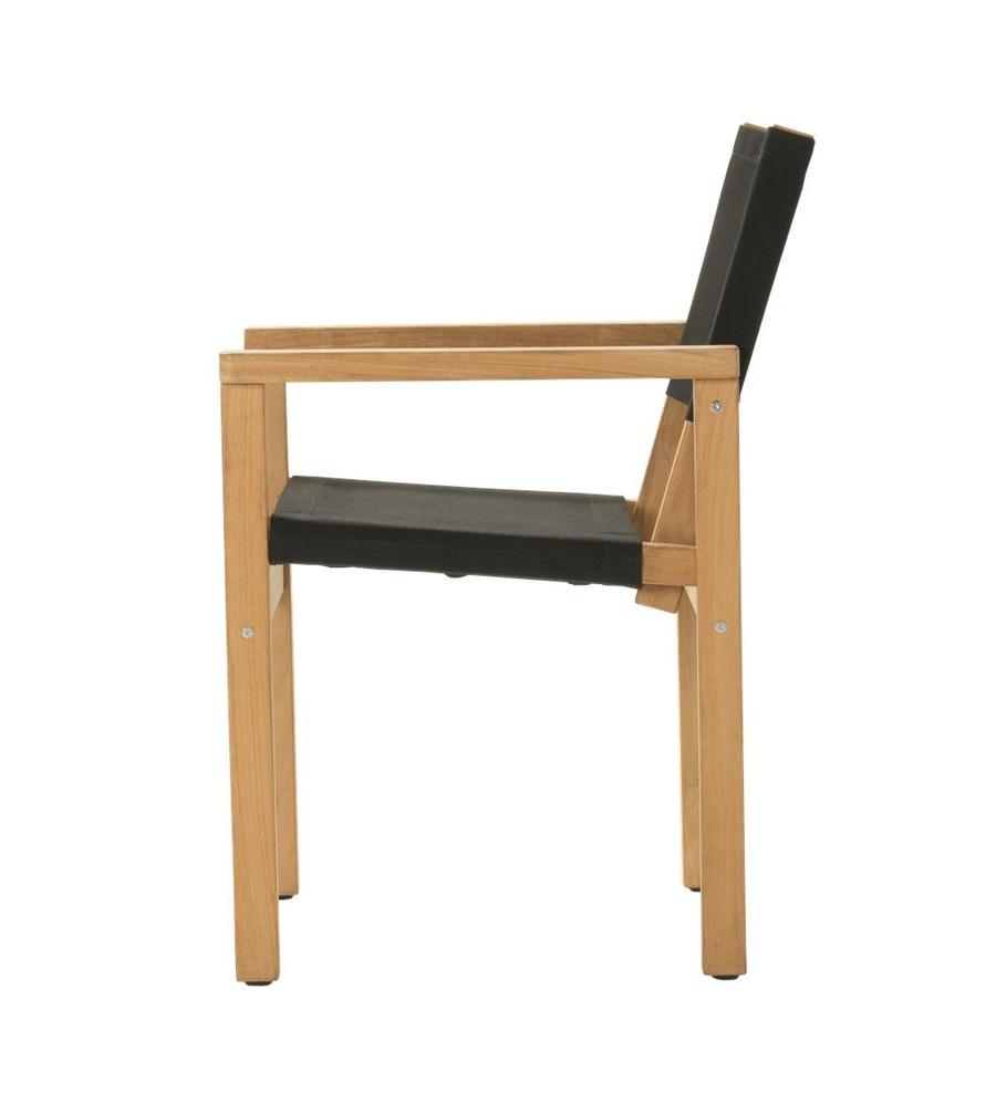Side view of Devon Blake outdoor teak dining chair in black fabric