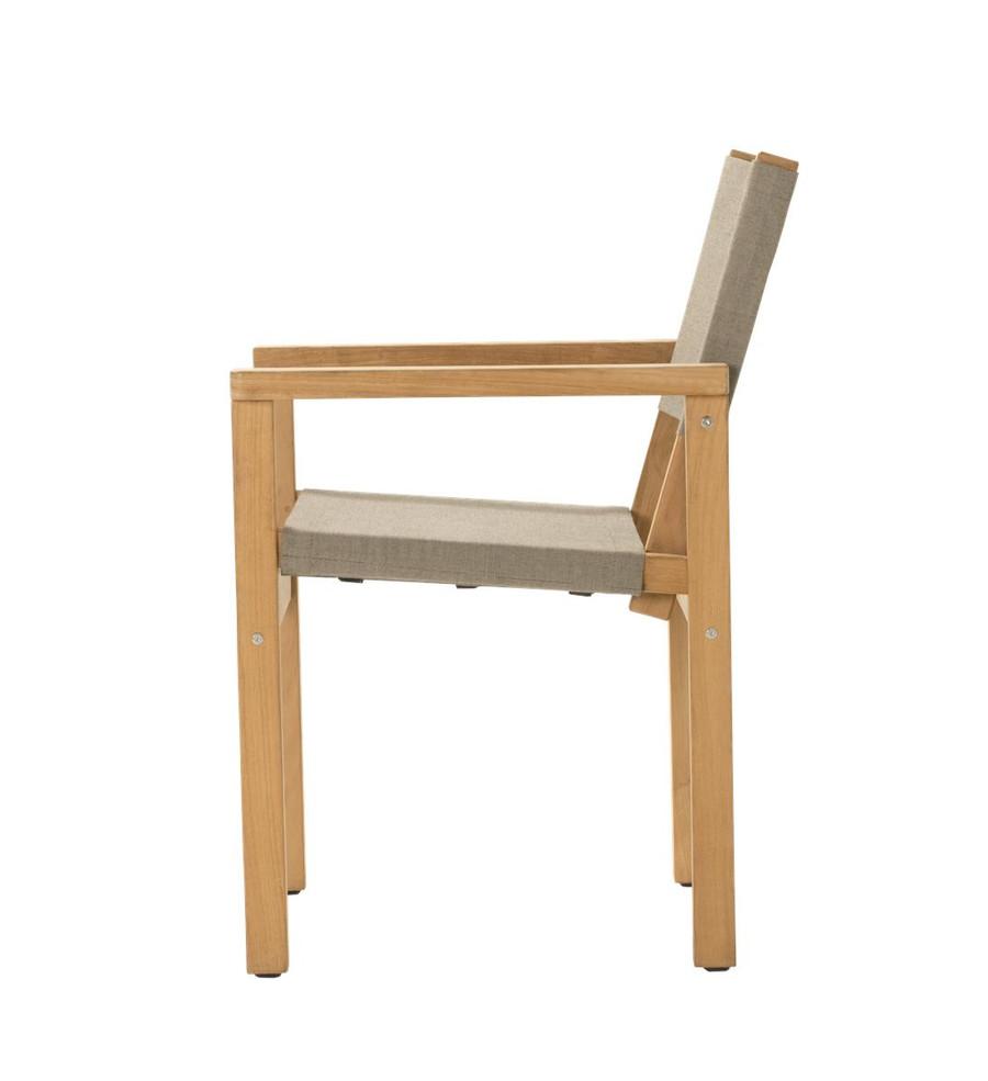 Side view of Devon Blake outdoor teak dining chair in latte fabric