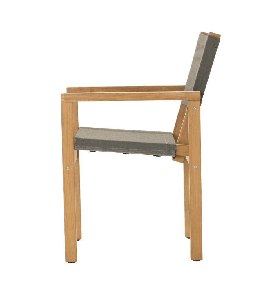 Side view of Devon Blake outdoor teak dining chair in steel fabric