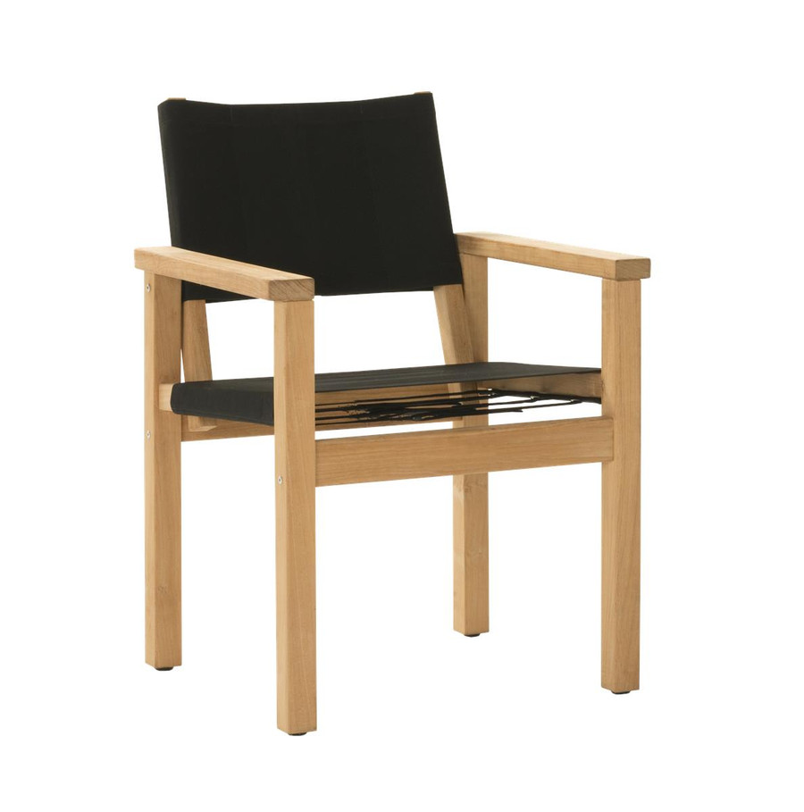 Angle view of Devon Blake outdoor teak dining chair in black fabric