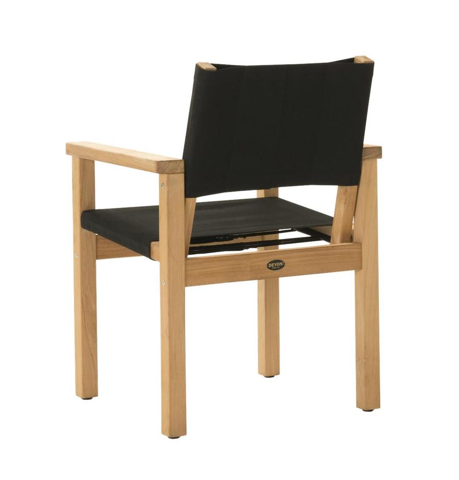 Rear view of Devon Blake outdoor teak dining chair in black fabric