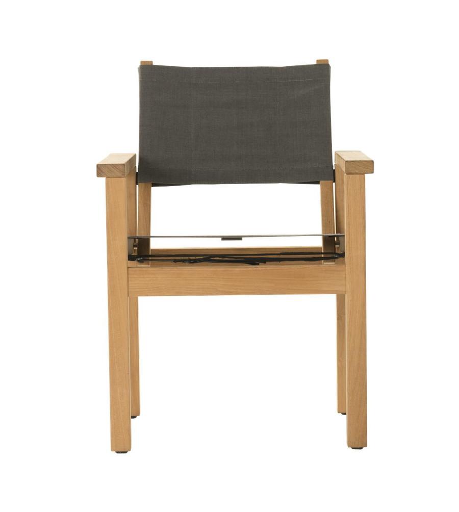Front view of Devon Blake outdoor teak dining chair in steel fabric
