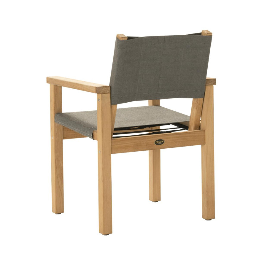 Rear view of Devon Blake outdoor teak dining chair in steel fabric