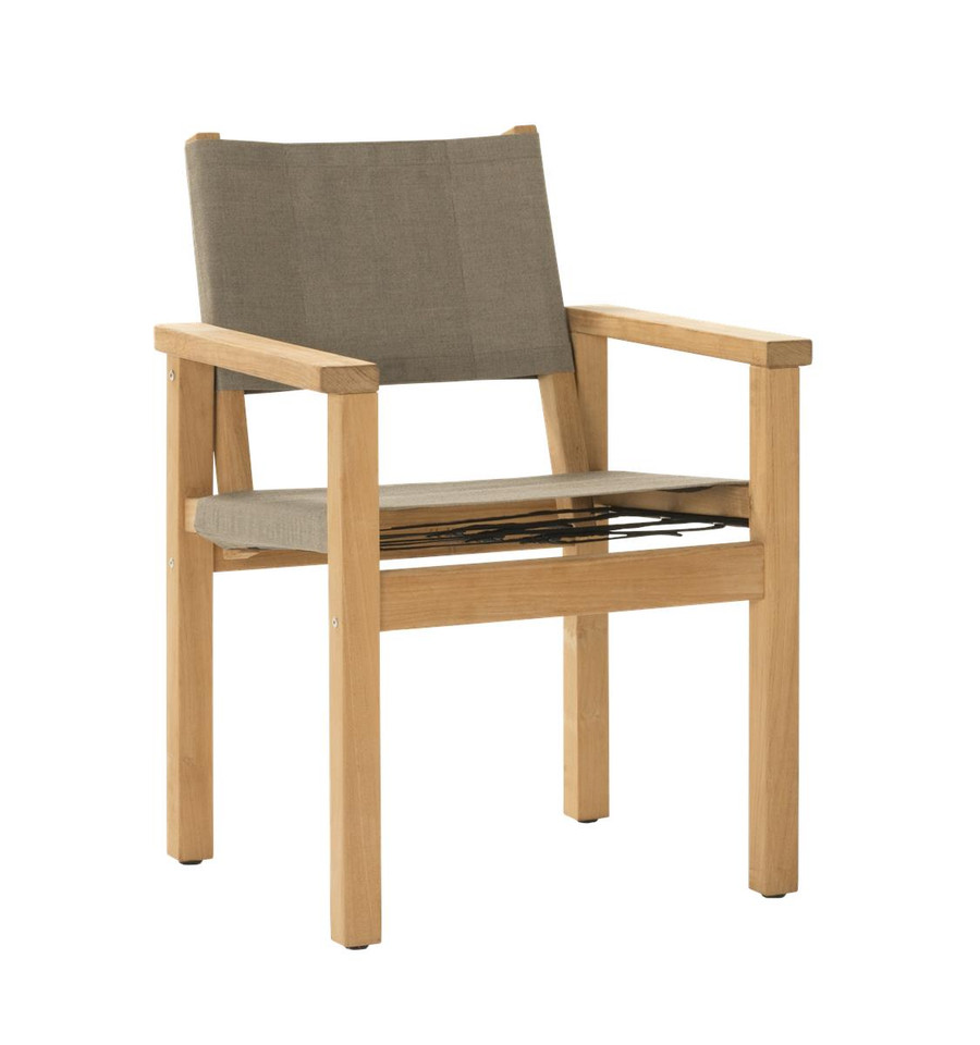 Angle view of Devon Blake outdoor teak dining chair in latte fabric