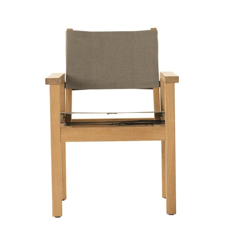 Front view of Devon Blake outdoor teak dining chair in latte fabric