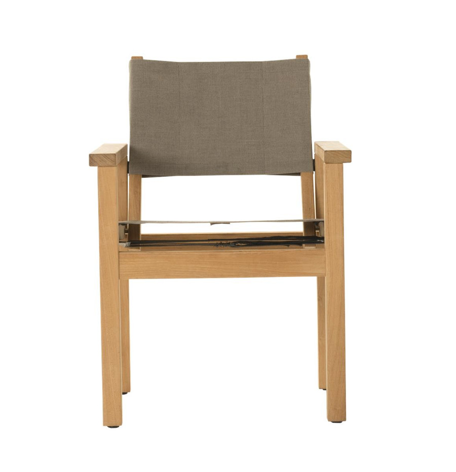 Front view of Devon Blake outdoor teak dining chair in latte fabric