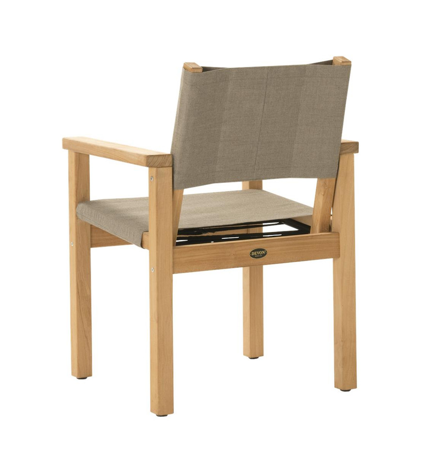 Rear view of Devon Blake outdoor teak dining chair in latte fabric