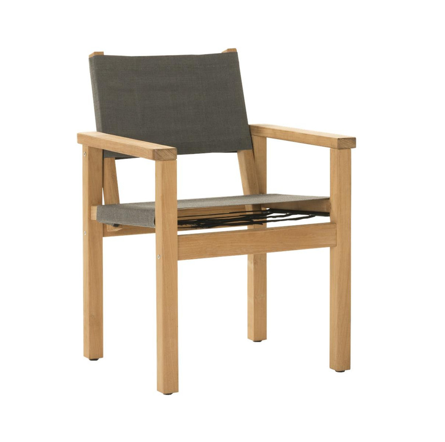 Angle view of Devon Blake outdoor teak dining chair in steel fabric
