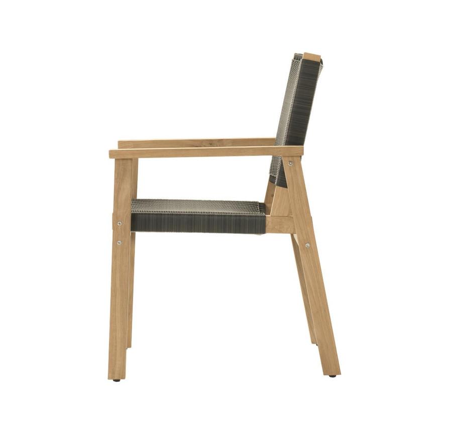 Side view of Devon Waipuna teak outdoor dining arm chair