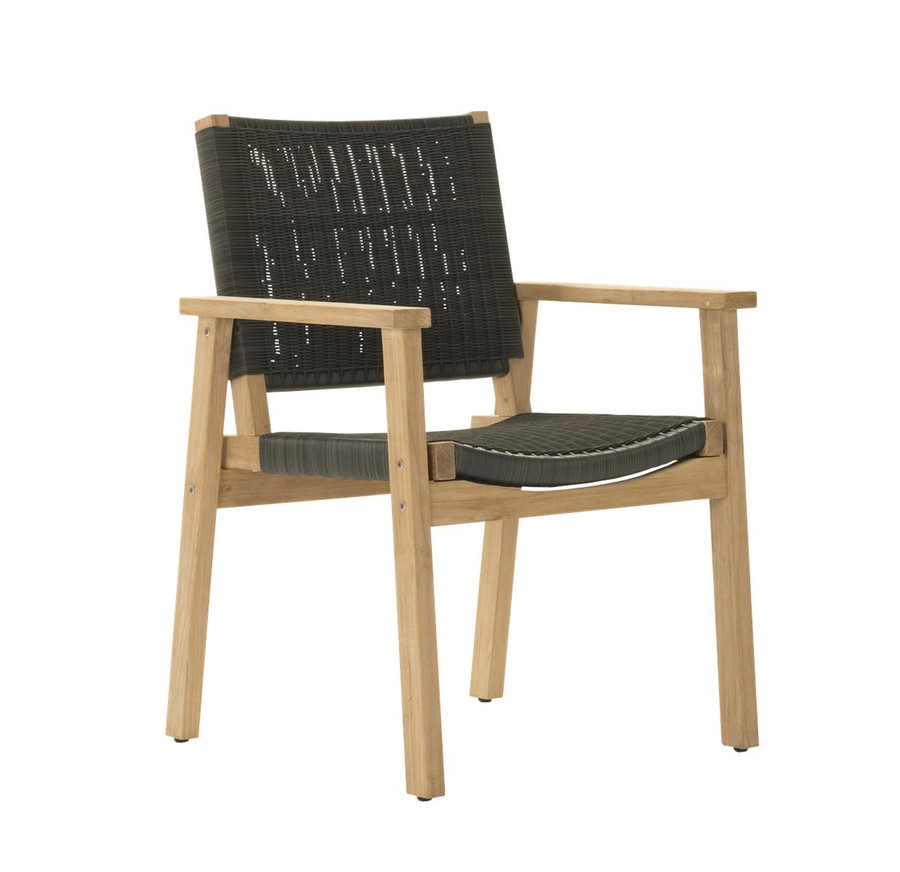 Angle view of Devon Waipuna teak outdoor dining arm chair