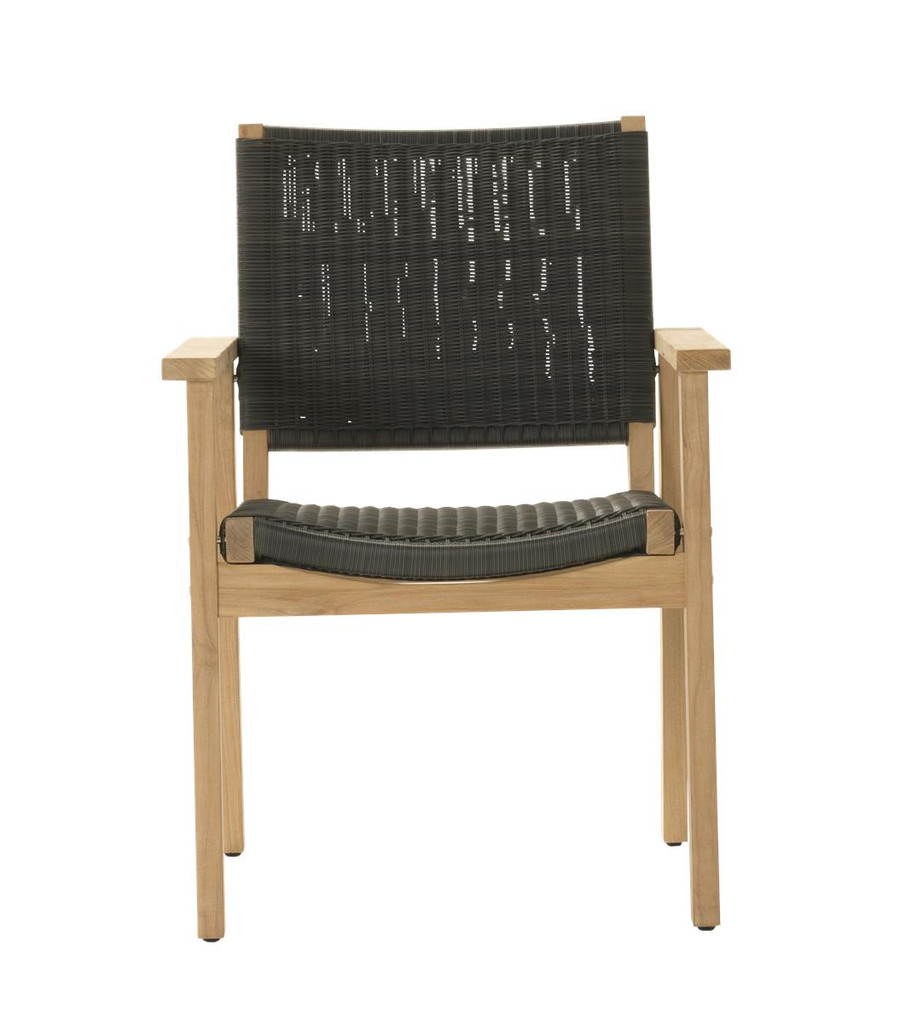 Front view of Devon Waipuna teak outdoor dining arm chair