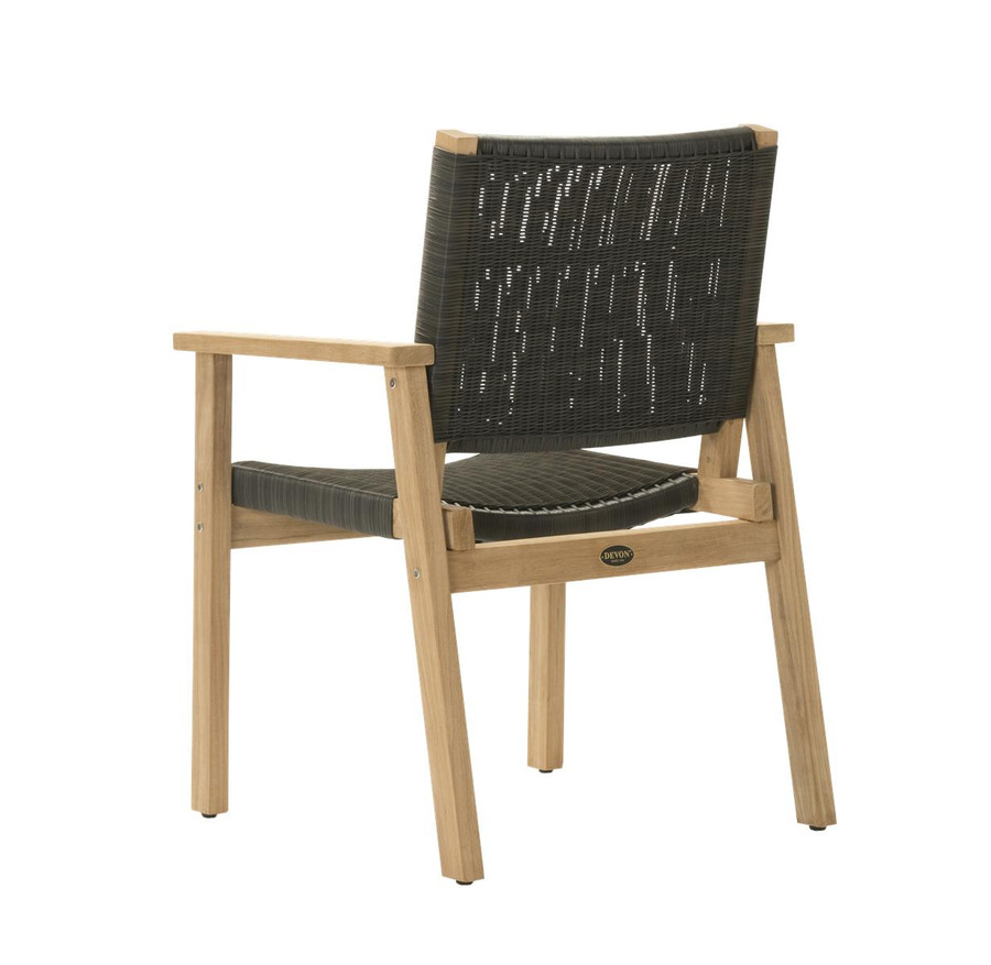 Backt view of Devon Waipuna teak outdoor dining arm chair