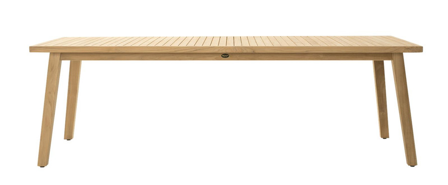Side view of Devon Porter outdoor teak dining table 240x100cm