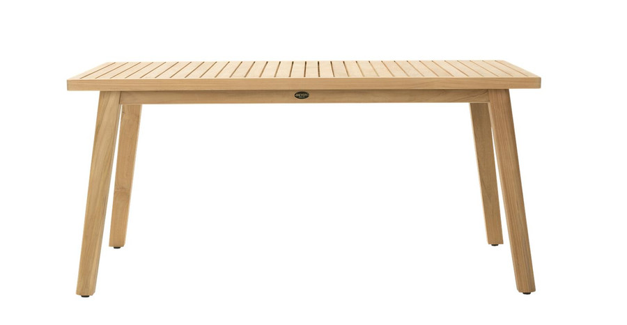 Side view of Devon Porter outdoor teak dining table 160x100cm