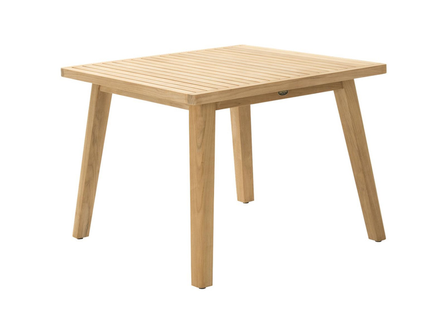 Angle view of Devon Porter outdoor teak dining table 100x100cm