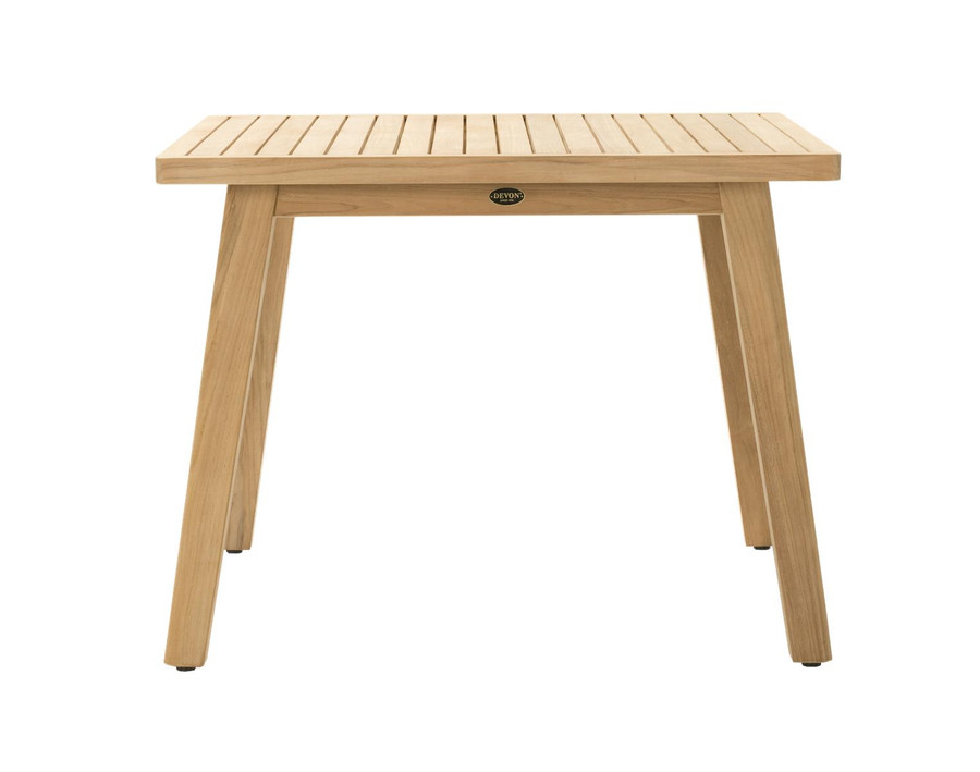 Side view of Devon Porter outdoor teak dining table 100x100cm