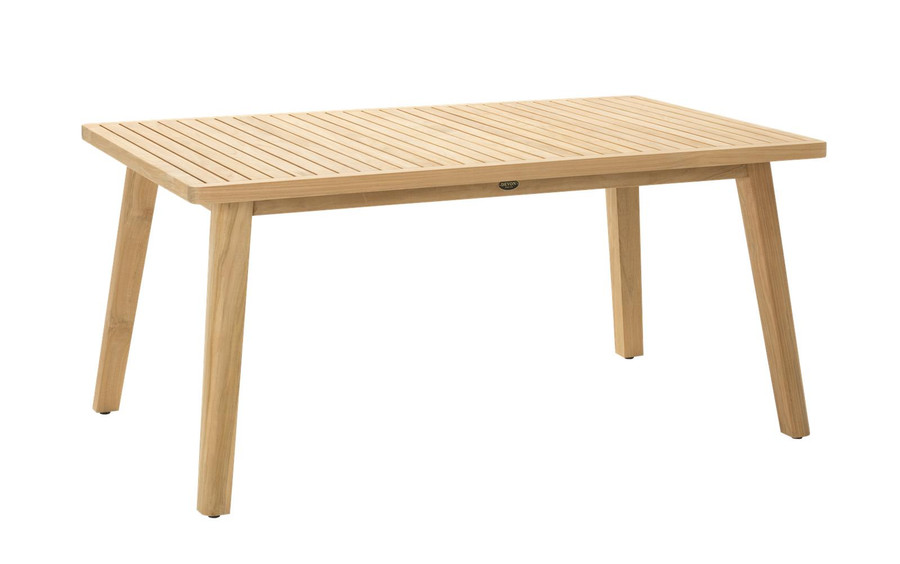 Angle view of Devon Porter outdoor teak dining table 160x100cm