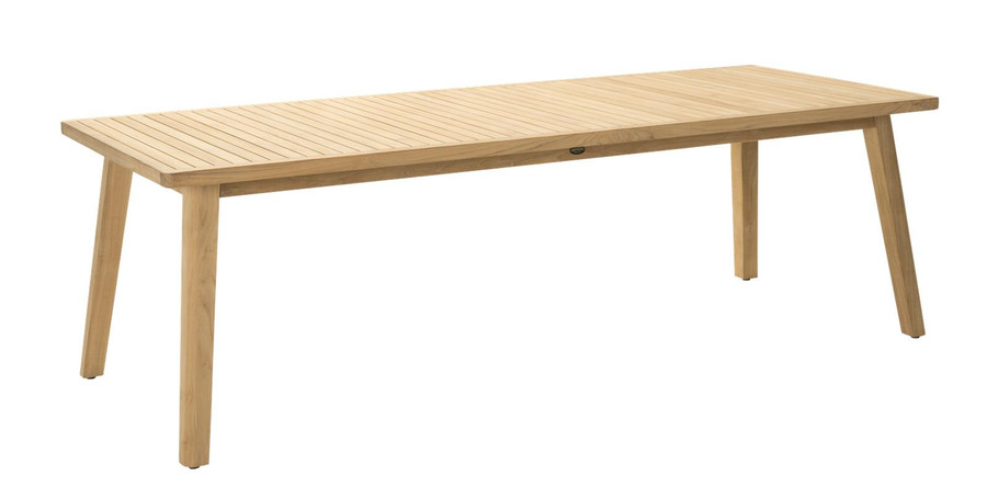 Angle view of Devon Porter outdoor teak dining table 240x100cm