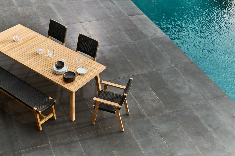 Another view of Devon Porter outdoor teak dining table 240 cm. Also shown with Devon Jackson outdoor chairs