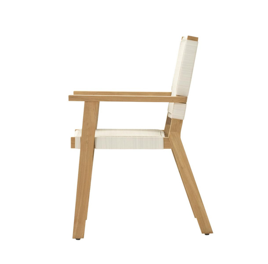 Side view of Devon Jackson teak and wicker outdoor dining chair in whitewash