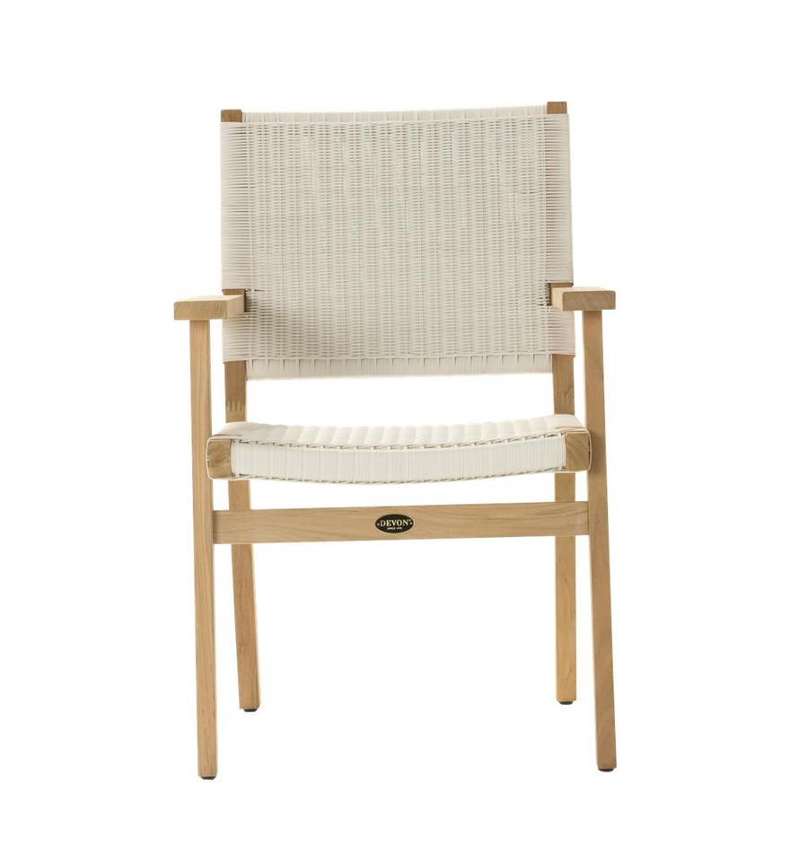 Front view of Devon Jackson teak and wicker outdoor dining chair in whitewash