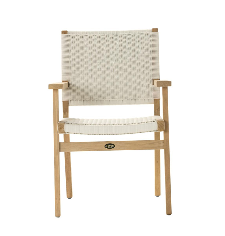 Front view of Devon Jackson teak and wicker outdoor dining chair in whitewash