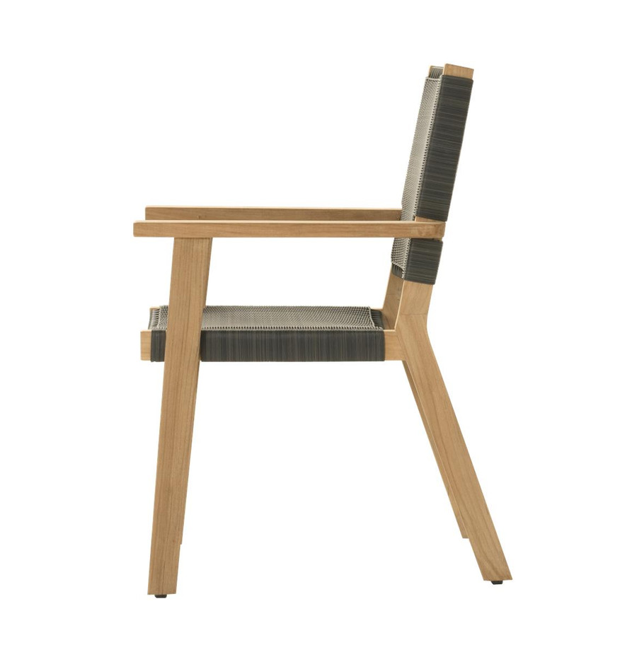 Side view of Devon Jackson teak and wicker outdoor dining chair in shadow grey