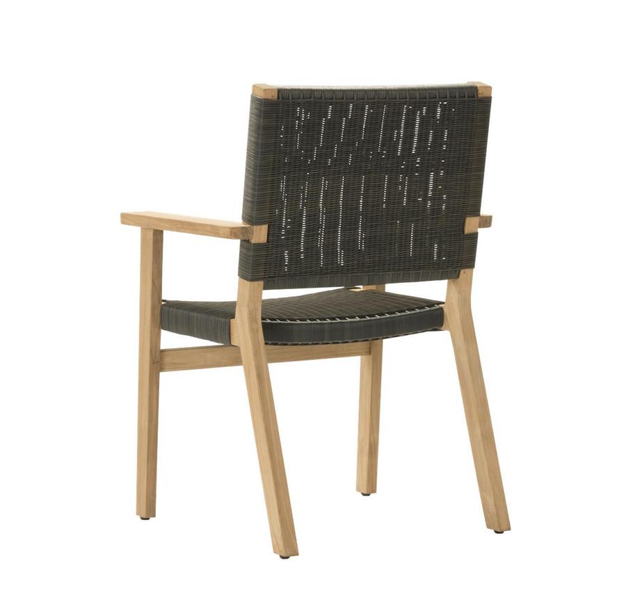Rear view of Devon Jackson teak and wicker outdoor dining chair in shadow grey