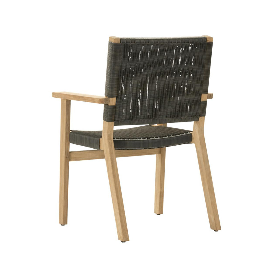 Rear view of Devon Jackson teak and wicker outdoor dining chair in shadow grey