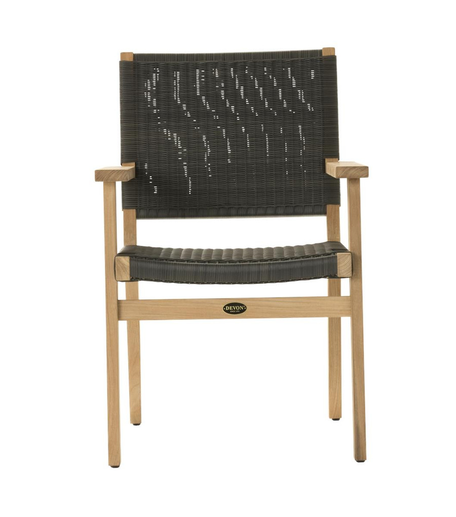 Front view of Devon Jackson teak and wicker outdoor dining chair in shadow grey