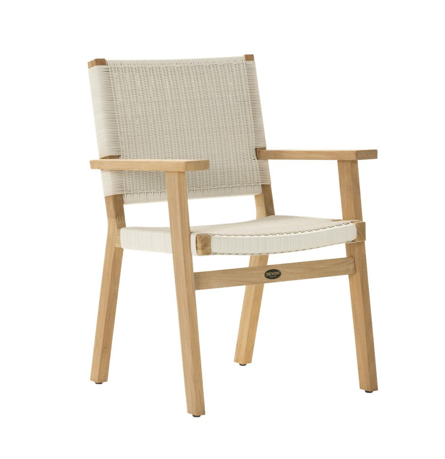 Angle view of Devon Jackson teak and wicker outdoor dining chair in whitewash