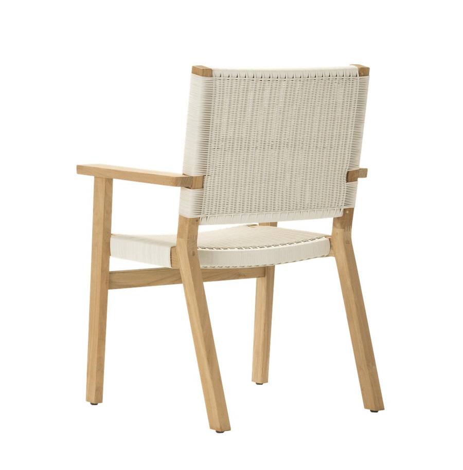Rear view of Devon Jackson teak and wicker outdoor dining chair in whitewash