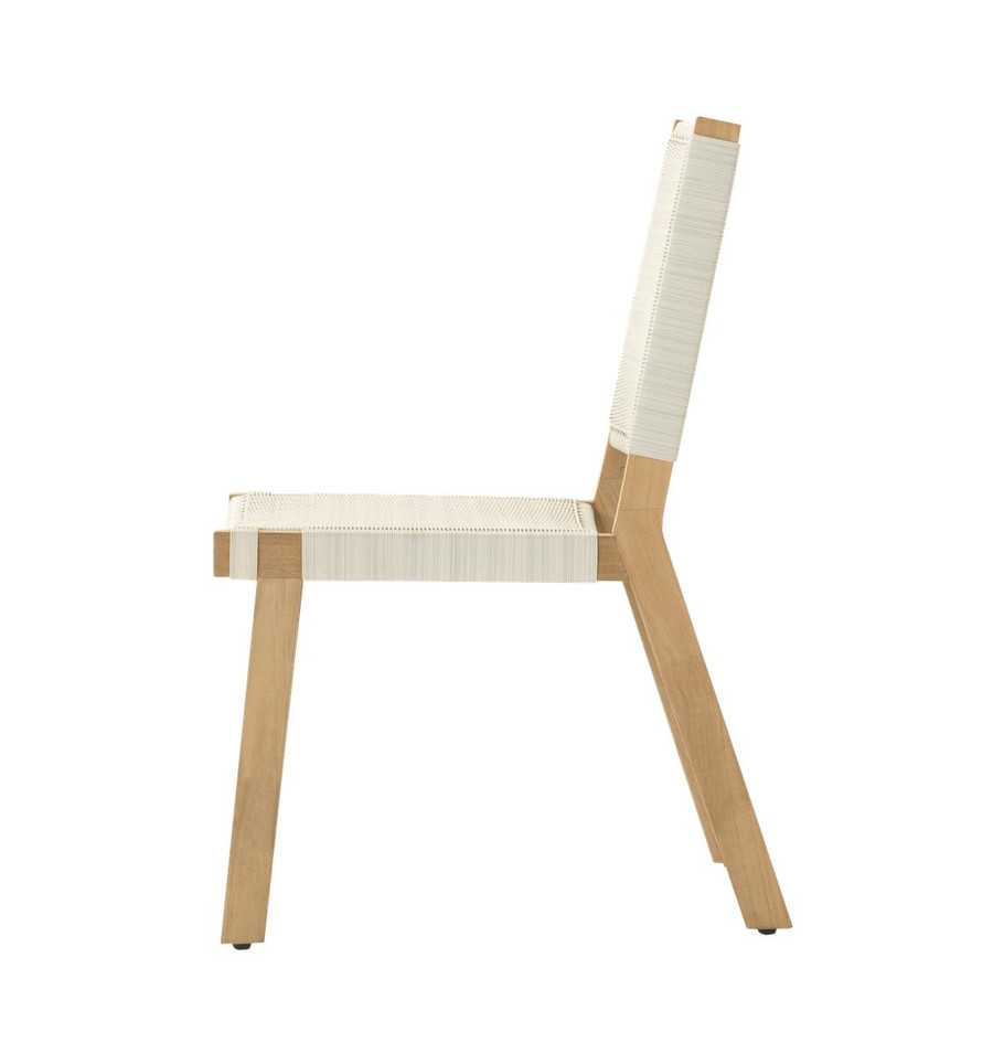 Side view of Devon Jackson outdoor teak dining side chair in whitewash