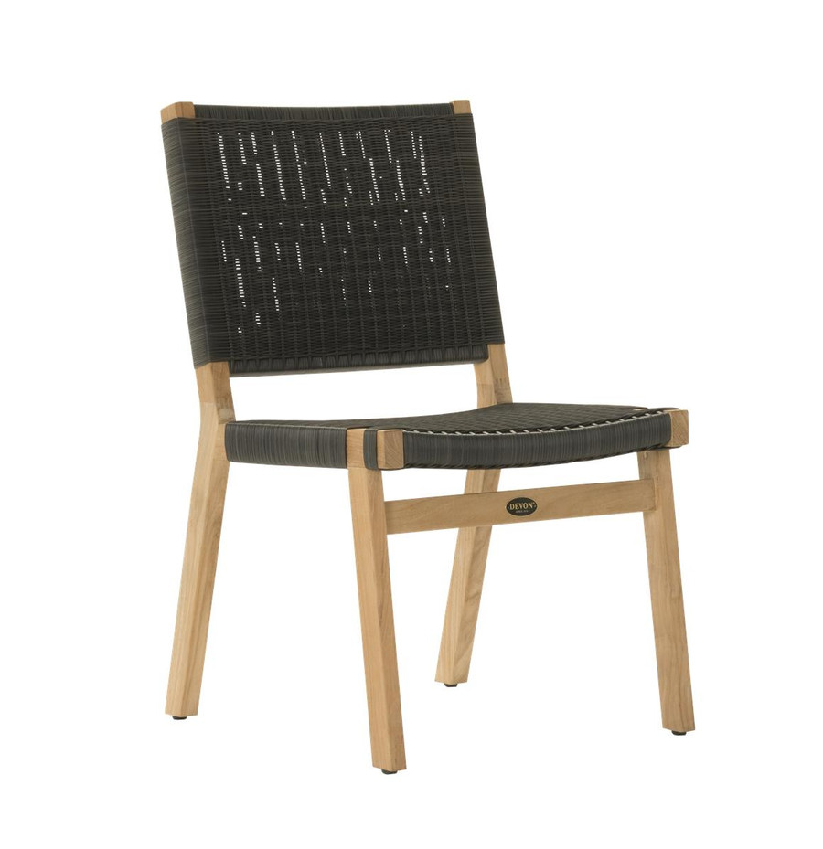 Angle view of Devon Jackson outdoor teak dining side chair in shadow grey